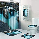 Bathroom Fashion 5 Piece Set shower curtain 3d print,Landscape,Waterfall Basalt Rocks Rural Scenery National Park Nature Woods Photo,Sky Blue Grey Green,Bath Mat,Bathroom Carpet Rug,Non-Slip,Bath Towl