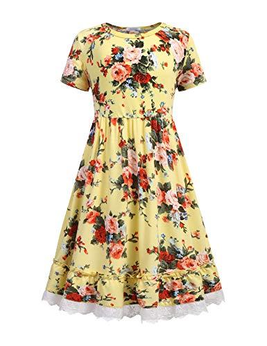 Balasha Girls Summer Floral Dress Swing Short Sleeve Casual Dresses for 9-10 Years Yellow -
