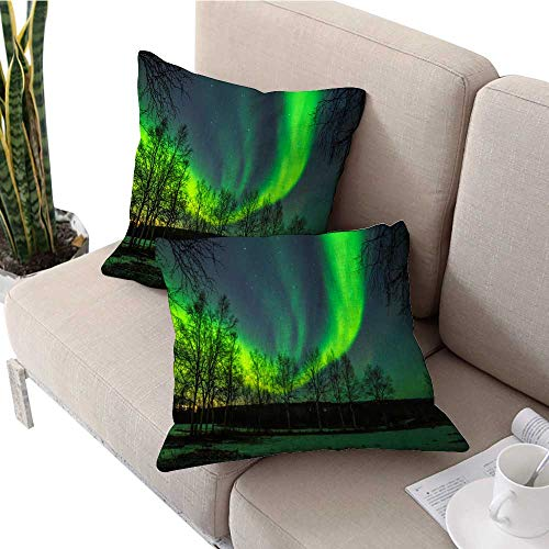 longbuyer Double-Sided Printing Pillowcase Northern Lights Floral Pillow Covers W 14