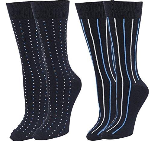 Mens Super Soft Dress Socks 2 Pack Dark Navy Dots & Stripes Design ()