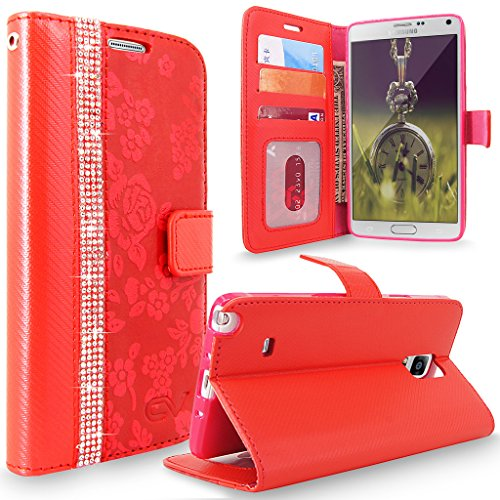 Galaxy Note 4 Case, Cellularvilla [Diamond Jewel] Embossed Flower Design Premium Pu Leather Wallet Case [Card Slots] Flip Folio Stand Cover For Samsung Galaxy Note 4 SM-N910S N910C (Red Bling) (Bling Note Case 4 Red)