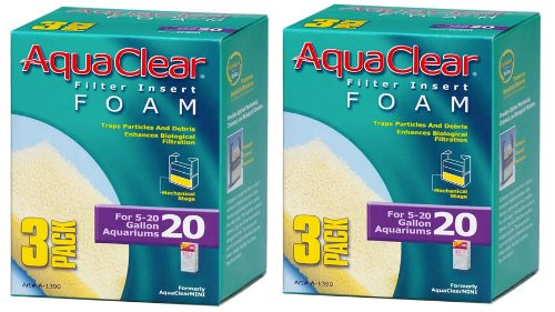 Aquaclear 20 Foam - Aquaclear Foam Inserts, 3-Pack (6-Pack, 20-Gallon)