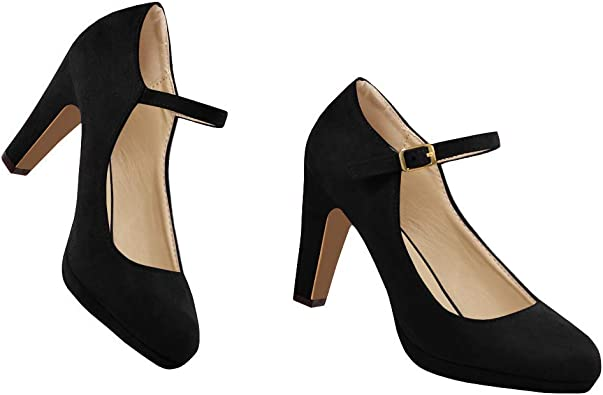 Syktkmx Womens Chunky Heel Ankle Strap Pumps Pointed Toe Mid Heel Suede Sandals