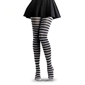 fce1d9485ac7d Children's Black and White Striped Tights for Halloween Fancy Dress Party -  Suitable for Kids Aged