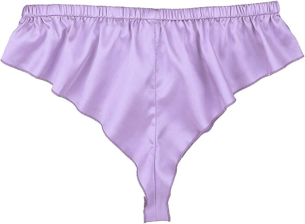 Freebily Mens Shiny Satin Frilly Silky French Knickers Sissy Crossdress Panty Lingerie Underwear
