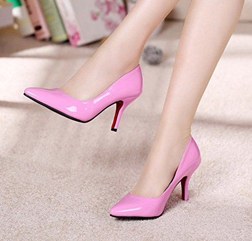 Solid Elegant Pumps Top Shoes Heel Easemax Slip Stiletto Pointed Office High Red Rose On Toe Womens Low fwxzqA