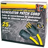 Prime GC143925 Generator Patch Cord, 25 ft 30 Amp 4 Prong Twist-to-Lock by Prime