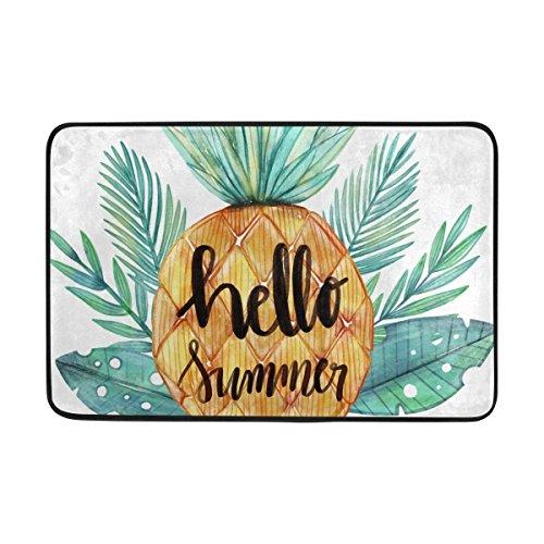 LEISISI Hello Summer Watercolor Pineapple Fashion Design Indoor Outdoor Doormat 23.6(L) X15.7(W) inch Non-Slip doormat Home Decor -