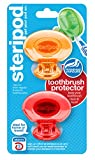 Steripod Clip-on Toothbrush Protector (2-Pack Orange & Red) I Protects Against Soap I Dirt I Hair I Sand I For Travel, Home, Camping - Stay fresh