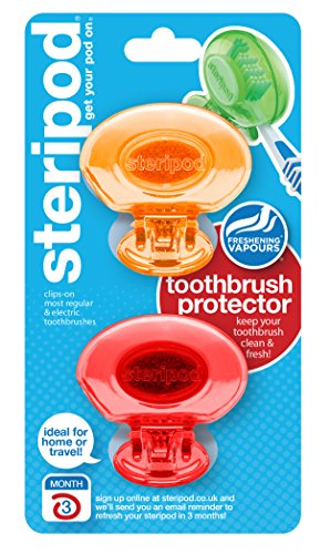 Steripod Clip-on Toothbrush Protector (2-Pack Orange & Red) I Protects Against Soap I Dirt I Hair I Sand I For Travel, Home, Camping – Stay fresh For Sale