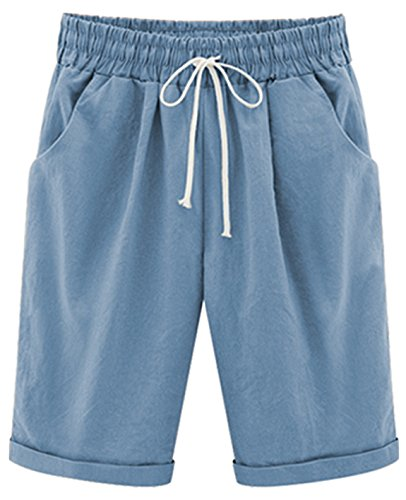 Knee Short (HOW'ON Women's Casual Elastic Waist Knee-Length Curling Bermuda Shorts with Drawstring Blue Grey L)