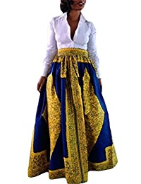 Cfanny Women's African Print Casual A-Line Pocket Detail Maxi Flared Skirt