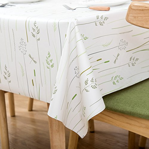 Vinyl Oilcloth Tablecloth Rectangle Water Resistant/Oil-proof Wipeable PVC Heavy Duty Reusable Plastic Tablecloths for Dining Tables Extra Large Grass - White and Mint Green 54 x 108 Inch