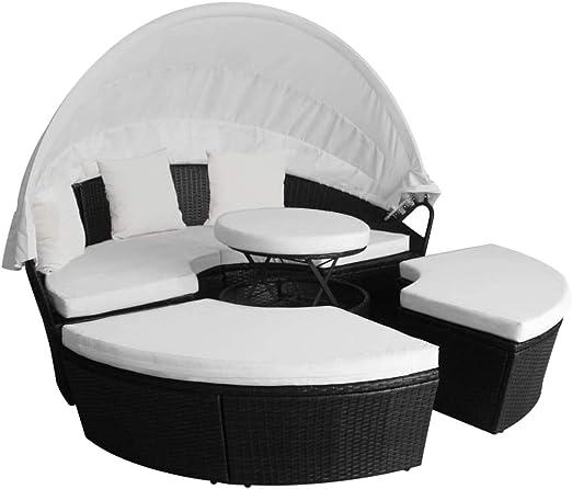 Xinglieu Juego de sofás/Camas solares de jardín de 11 Piezas en polirratán Negro Camas para Tomar EL Sol Camas MAR: Amazon.es: Jardín