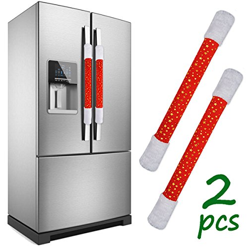LimBridge Set of 2 Christmas Star Plush Refrigerator Door Handle Cover, Double Door Fridge, Kitchen Microwave Dishwasher Handle Decorations