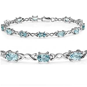 7 1/2 ct Sky Blue Topaz Infinity Tennis Bracelet set in Sterling Silver ( 7.5 inches) by Amanda Rose Collection