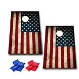 American Flag Cornhole Game - Patriotic Bag Toss Game - 8 Bags included - Wooden Boards