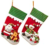 20'' (2 Pack) Plush 3D Applique Style Felt Christmas Stockings, Adorable Detailed Designs, Embroidered Edges, Hanging Loops, Includes Santa and Snowman