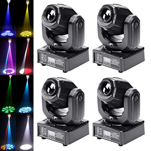 50W Moving Head Stage Lights, U`King Portable LED 8 Gobo 8 Pattern Spotlight by DMX 512 Control 9/11 Channel for Disco Party Lights Shows - 4 Pack ()