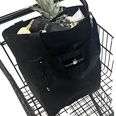 The Ultimate Reusable Tote - Extra Large - Foldable - Lightweight - Durable - Sturdy - Packable - Insulated - Hands-Free Carry - Grocery Shopping - Travel - Family - Gym or Yoga - Up to 40 Lbs