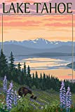 Lake Tahoe - Bear Family and Spring Flowers (9x12 Art Print, Wall Decor Travel Poster)