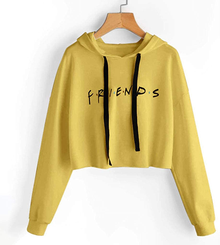 Women/'s Friends Letter Printed Hoodie Crop Tops Pullover Sweatshirts Jumper