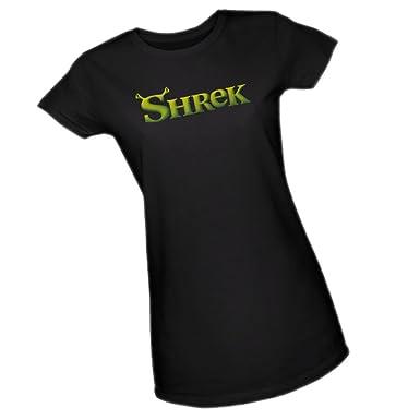 775dd918 Amazon.com: DreamWorks Movie Logo - Shrek Crop Sleeve Fitted Juniors ...