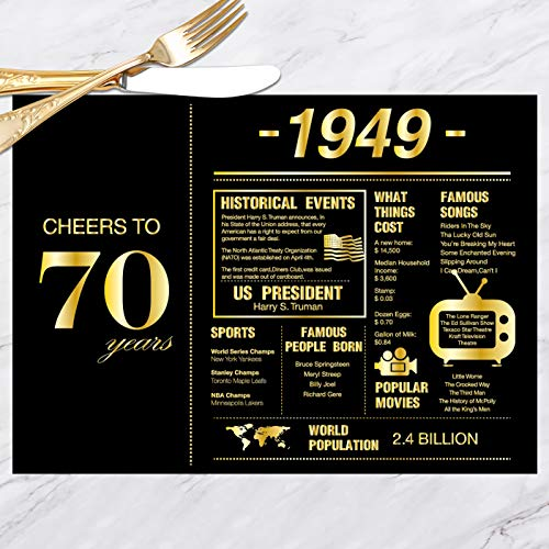 70th Birthday Placemats Decorations for Women or Men | 1949 Sign | 70th Anniversary Decorations | 70 Years Wedding Anniversary Decorations | Seventy Party Table Decorations | Set of 30