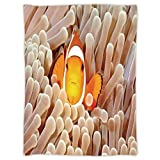 Super Soft Throw Blanket Custom Design Cozy Fleece Blanket,Ocean Decor,Clown Fish Swimming in Tentacles in the Pacific Ocean Bali Indonesia Marine Wildlife,Beige Orange,Perfect for Couch Sofa or Bed