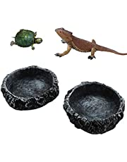 2 Pack Reptile Water Dish Food Bowl Rock Worm Feeder for Leopard Gecko Lizard Spider Scorpion Chameleon Tortoises Reptiles