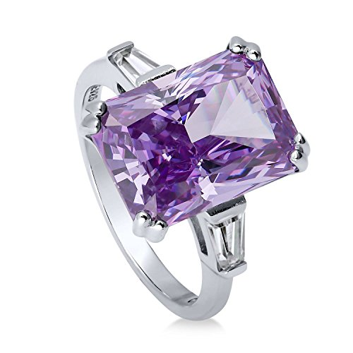 BERRICLE Rhodium Plated Silver Radiant Cut Purple Cubic Zirconia CZ 3-Stone Cocktail Ring Size 6 (Cocktail Ring Baguette Side)