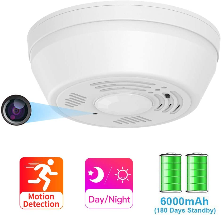 Hidden Camera Smoke Detector WiFi, SDETER Motion Activated Nanny Camera with 180 Days Battery Power, Remote Internet Access,Night Vision, SD Card Slot, Bottom View Covert Camera Lens for Home Security