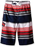 Kanu Surf Big Boys' Optic Stripe Swim Trunk, Navy/Red, Medium (10/12)