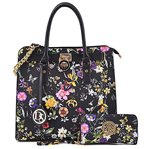 DASEIN Fashion Top Belted Tote Satchel Designer Padlock Handbag Shoulder Bag for Women (2553W-black ()