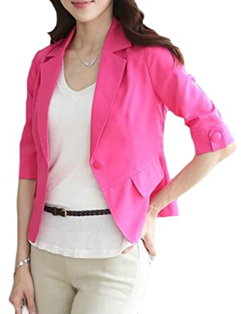 73cd8c3904bd Jotebriyo Women's Summer 3/4 Sleeve Candy Color Slim Fit Business Work Blazer  Jacket Suit Coat at Amazon Women's Clothing store: