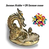 OTOFY Handmade Dragon Incense Holder, Dragon Backflow Incense Burner, Decorative Figurine Display Stand Gothic Home Decor Aromatherapy Sculptures and Select Gifts (Large Gold Dragon)