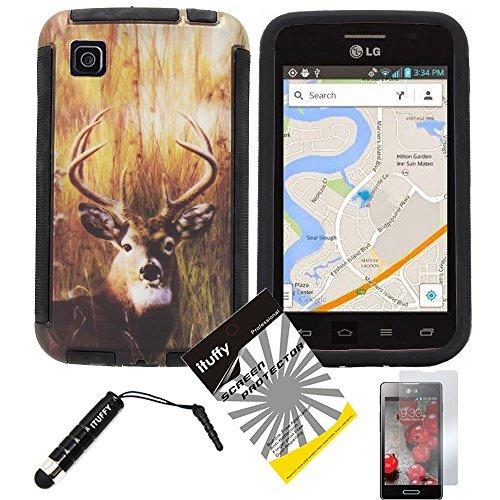 2 items Combo: Stylus Pen + Design Wrap-Up Cover Faceplate Skin Phone Case for LG Optimus Dynamic II LG39C L39C (Net 10, StraightTalk, Tracfone) (Deer - Black) ()