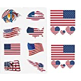 Ikooo 30 Pcs American Flag Waterproof Temporary Tattoo Independence Day July 4th Body Face Sticker Flags