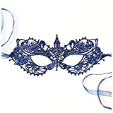 The Authentic 50 Shades Darker Ana Masquerade Mask - Luxury Lace Anastasia Goddess Mask (Navy Blue)