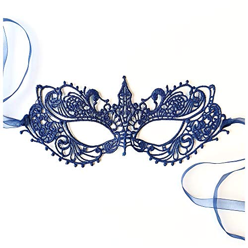 The Authentic 50 Shades Darker Ana Masquerade Mask - Luxury Lace Anastasia Goddess Mask (Navy Blue)