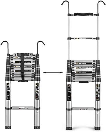 Erru Escalera Telescópica- Heavy Duty Escaleras De Extensión para La Seguridad del Ático, Escalera Telescópica 2M Alto Escalera Recta Espesado con Ganchos, 150 Kg De Carga (Size : 2m/6.56ft): Amazon.es: Hogar