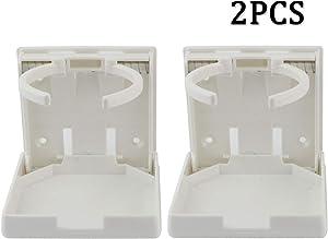 Ogrmar 2PCS Adjustable Folding Drink Holder/Adjustable Cup Holder for Marine/Boat/Caravan/Car/Trucks/RVs/Vans (White)