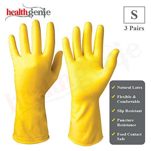 Healthgenie Flocklined Household Multi-Purpose Glove, Small (3 Pairs)