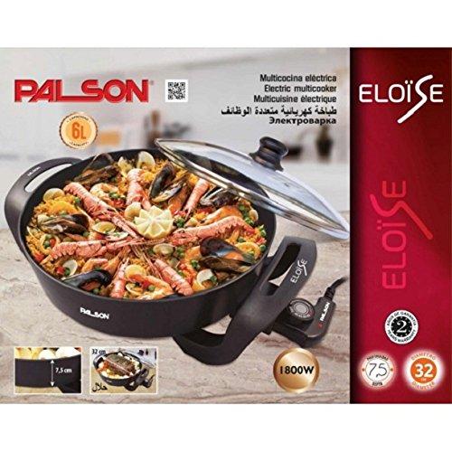 Palson Eloise - Multicocina eléctrica (1800 W, 6 l, tapa de cristal, termostato, desmontable) color negro: Amazon.es: Hogar