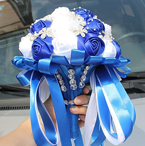 Multi Color Romantic Bride Wedding Holding Bouquet- Peal Diamond Ribbon Wedding Flower-Bridal Bouquet Flowers WA224-A (blue+white)