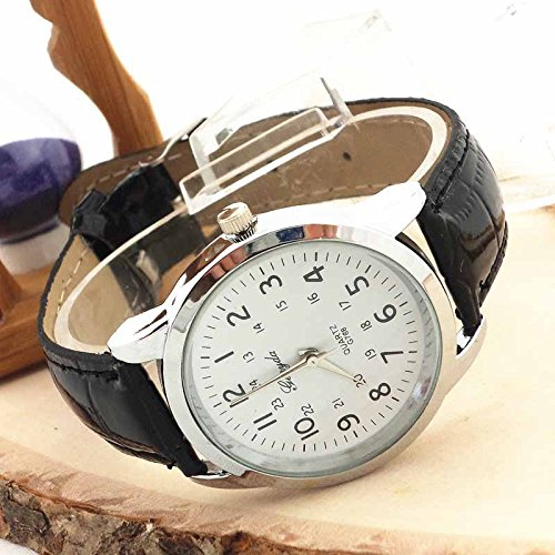 Elegant Analog Luxury Sports Leather Strap Quartz Mens Wrist Watch Bk