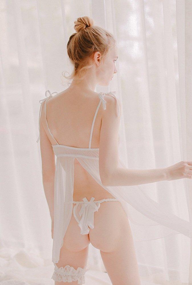 Ailin home- Mujer Babydoll Net Caída Falda Pijama Pijama Pijama Pijama ( Color : Blanco , Tamaño : One size ) 912228