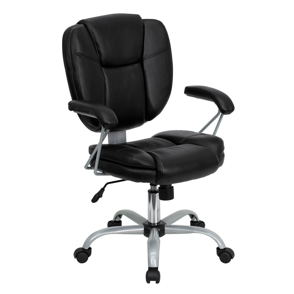 amazoncom flash furniture go 930 bk gg mid back black leather task and computer chair kitchen dining amazon chairs office