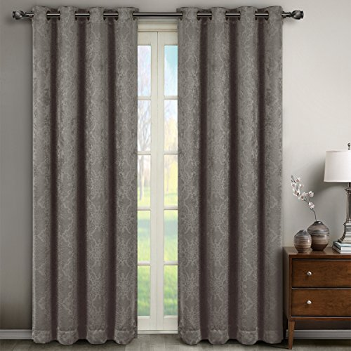 Pair of Two Top Grommet Blackout Weave Embossed Curtain Panels, Triple-Pass Foam Back Layer, Elegant and Contemporary Bella Blackout Panels, Grey, Set of Two 52″ by 84″ Panels (104″ by 84″ Pair)