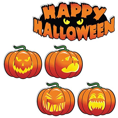 VictoryStore Yard Sign Outdoor Lawn Decorations: Happy Halloween Scary Pumpkins Halloween Lawn Decoration 5 Piece Set w/11 Short Stakes]()